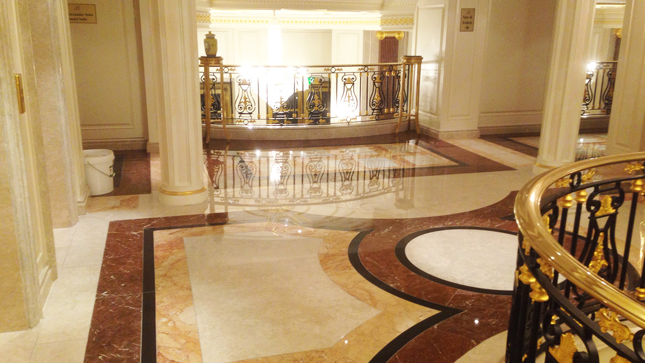 stone floor restoration at the bentley hotel