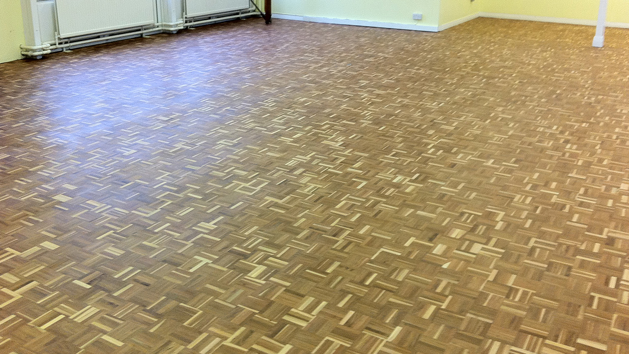 Wood floor restoration of main hall at canvey island for Wood floor restoration essex