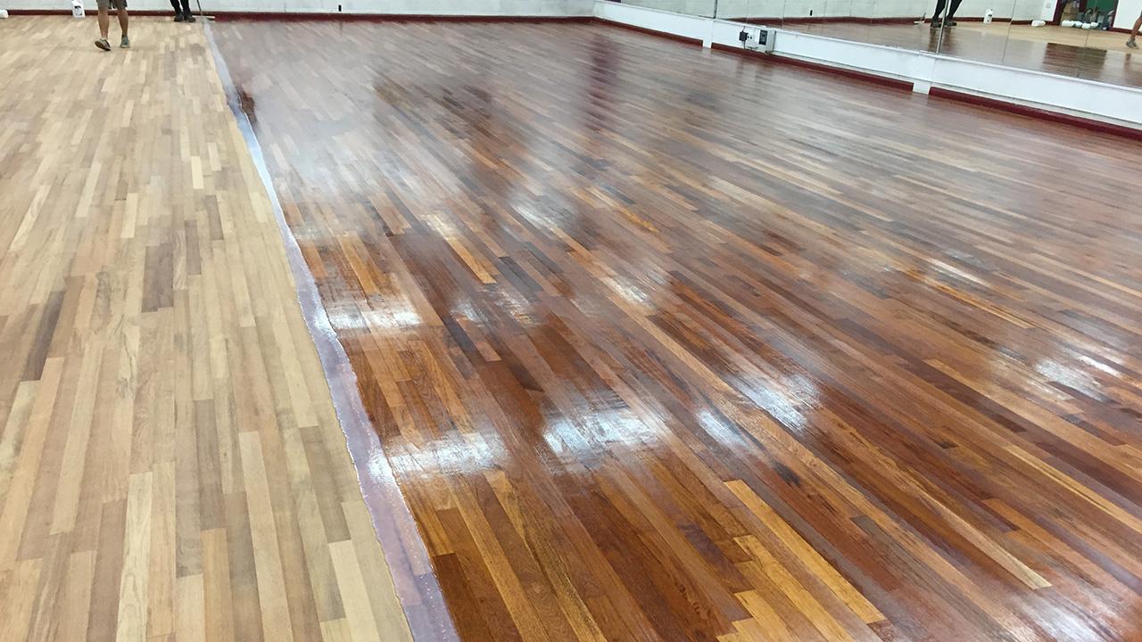 Wood floor restoration lynnsport fitness studio renue for Wood floor refurbishment