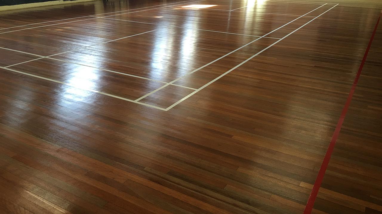 Wood floor restoration reigate priory school renue uk for Wood floor refurbishment
